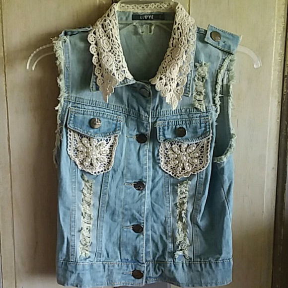 LLOVE Jackets & Blazers - Distressed Denim Vest With Lace and Pearls